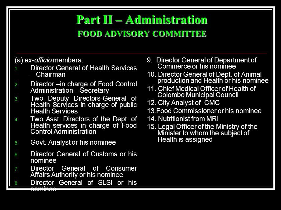 Food Advisory Committee contd.(b) nominated members: 1.