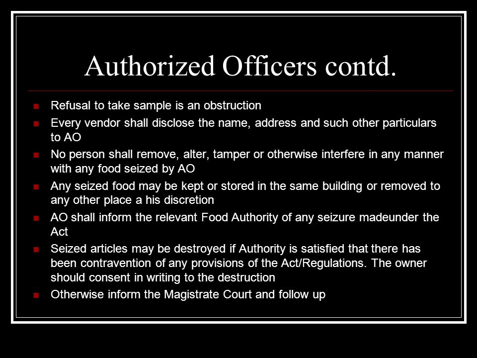 Authorized Officers contd.