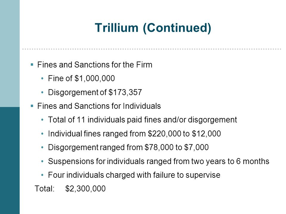 Trillium (Continued)  Fines and Sanctions for the Firm Fine of $1,000,000 Disgorgement of $173,357  Fines and Sanctions for Individuals Total of 11 individuals paid fines and/or disgorgement Individual fines ranged from $220,000 to $12,000 Disgorgement ranged from $78,000 to $7,000 Suspensions for individuals ranged from two years to 6 months Four individuals charged with failure to supervise Total: $2,300,000