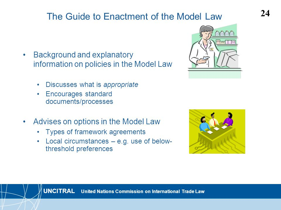 UNCITRAL United Nations Commission on International Trade Law 24 The Guide to Enactment of the Model Law Background and explanatory information on policies in the Model Law Discusses what is appropriate Encourages standard documents/processes Advises on options in the Model Law Types of framework agreements Local circumstances – e.g.