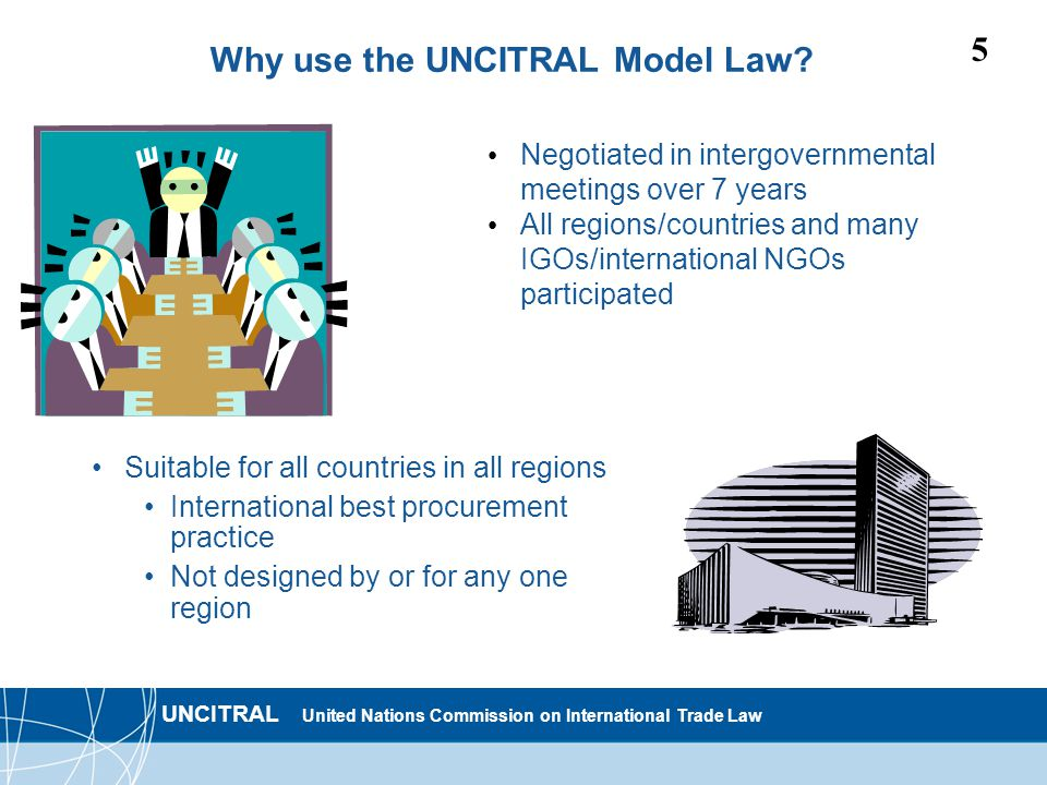 UNCITRAL United Nations Commission on International Trade Law 5 Why use the UNCITRAL Model Law.