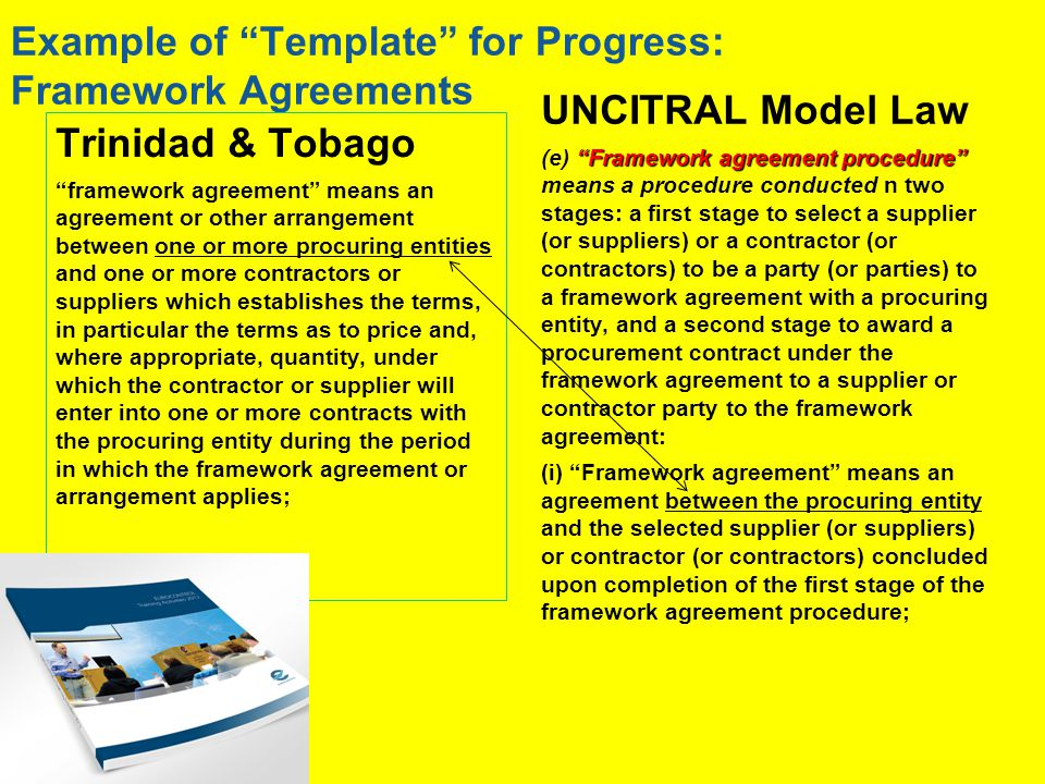 Example of Template for Progress: Framework Agreements Trinidad & Tobago framework agreement means an agreement or other arrangement between one or more procuring entities and one or more contractors or suppliers which establishes the terms, in particular the terms as to price and, where appropriate, quantity, under which the contractor or supplier will enter into one or more contracts with the procuring entity during the period in which the framework agreement or arrangement applies; UNCITRAL Model Law Framework agreement procedure (e) Framework agreement procedure means a procedure conducted n two stages: a first stage to select a supplier (or suppliers) or a contractor (or contractors) to be a party (or parties) to a framework agreement with a procuring entity, and a second stage to award a procurement contract under the framework agreement to a supplier or contractor party to the framework agreement: (i) Framework agreement means an agreement between the procuring entity and the selected supplier (or suppliers) or contractor (or contractors) concluded upon completion of the first stage of the framework agreement procedure;
