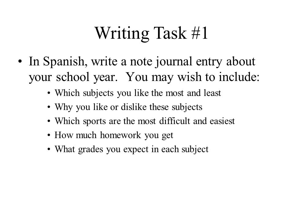 Directions – Part 4 Choose 2 of the following 3 writing tasks Your answer to each of the following tasks should be written entirely in Spanish on a piece of paper and should contain a minimum of 30 words.