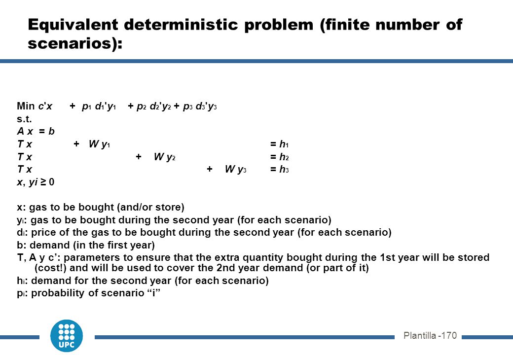 Plantilla -170 Equivalent deterministic problem (finite number of scenarios): Min c'x + p 1 d 1 'y 1 + p 2 d 2 'y 2 + p 3 d 3 'y 3 s.t. A x = b T x +