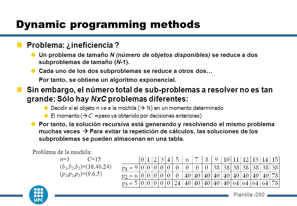 Dynamic programming methods Problema: ¿ineficiencia .