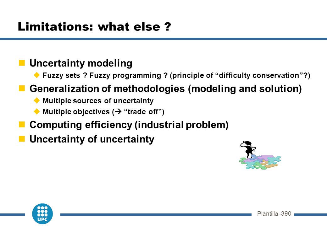 "Plantilla -390 Limitations: what else ? Uncertainty modeling  Fuzzy sets ? Fuzzy programming ? (principle of ""difficulty conservation""?) Generalizati"