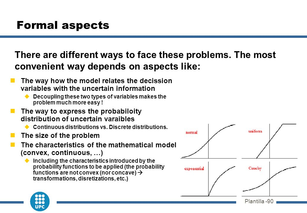 Plantilla -90 Formal aspects The way how the model relates the decission variables with the uncertain information  Decoupling these two types of vari