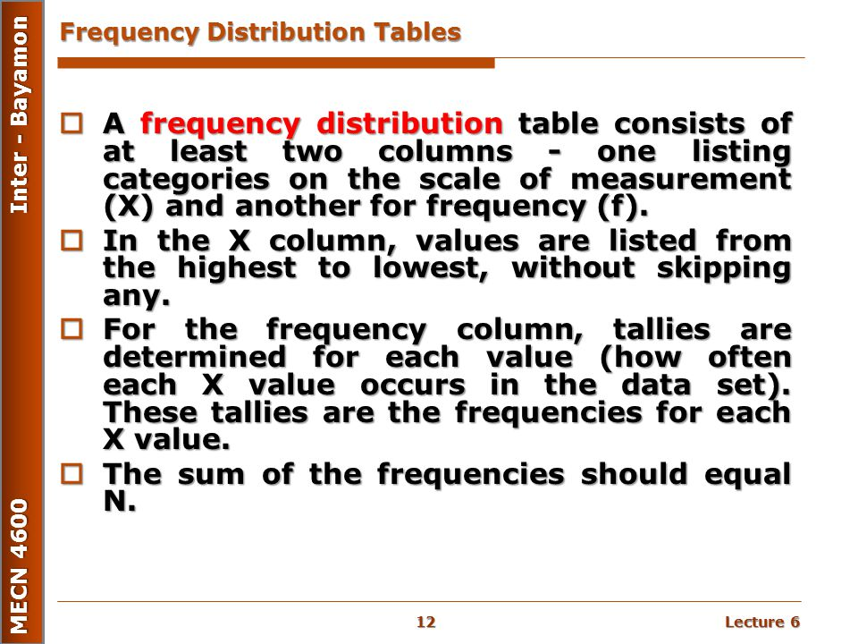 Lecture 6 MECN 4600 Inter - Bayamon Frequency Distribution Tables  A frequency distribution table consists of at least two columns - one listing cate