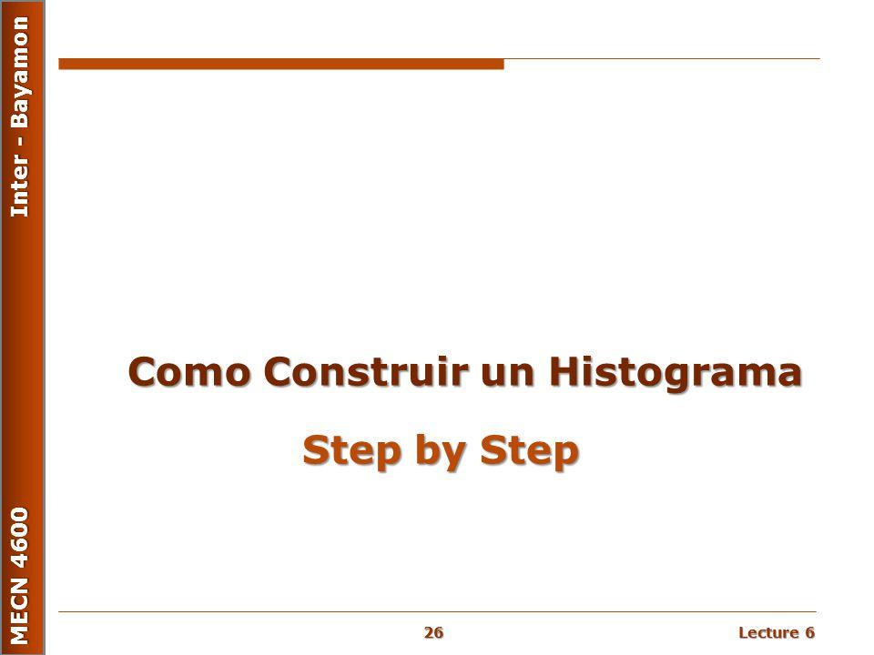 Lecture 6 MECN 4600 Inter - Bayamon Step by Step Como Construir un Histograma 26