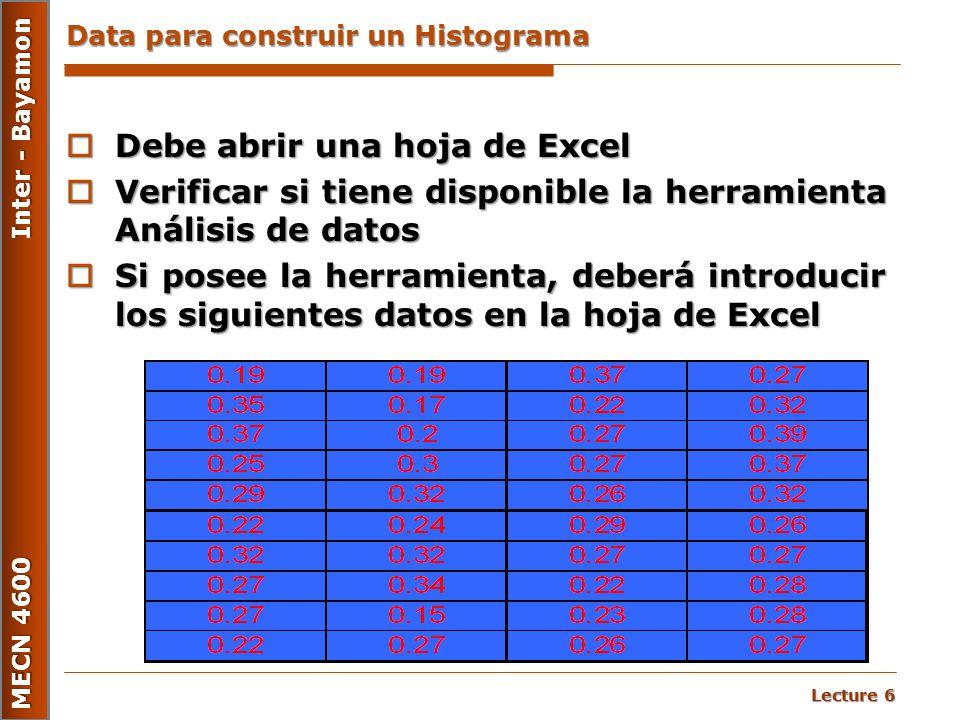 Lecture 6 MECN 4600 Inter - Bayamon Data para construir un Histograma  Debe abrir una hoja de Excel  Verificar si tiene disponible la herramienta An