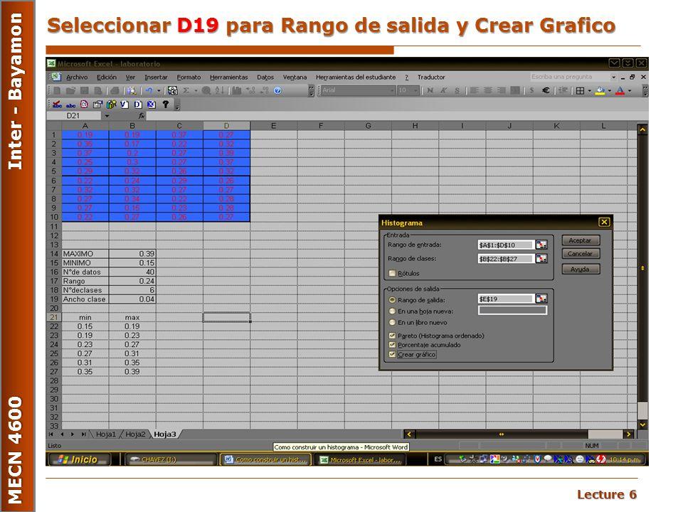 Lecture 6 MECN 4600 Inter - Bayamon Seleccionar D19 para Rango de salida y Crear Grafico