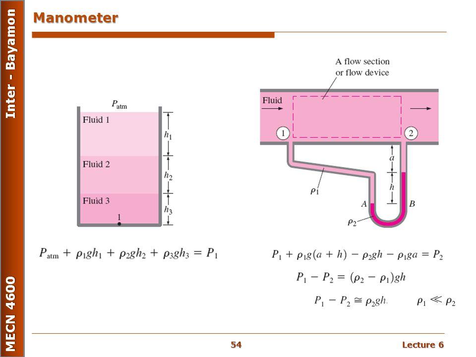 Lecture 6 MECN 4600 Inter - Bayamon Manometer 54