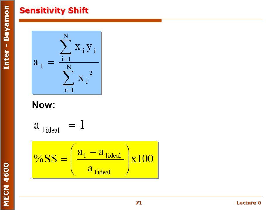 Lecture 6 MECN 4600 Inter - Bayamon Sensitivity Shift 71