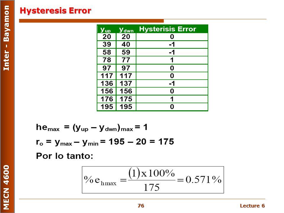 Lecture 6 MECN 4600 Inter - Bayamon Hysteresis Error 76