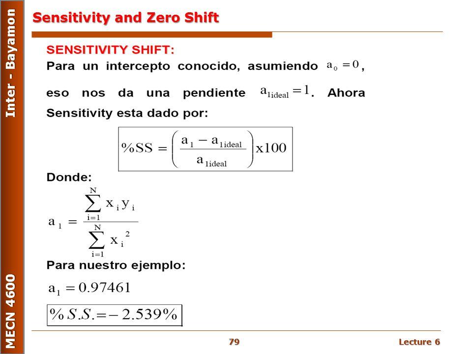 Lecture 6 MECN 4600 Inter - Bayamon Sensitivity and Zero Shift 79