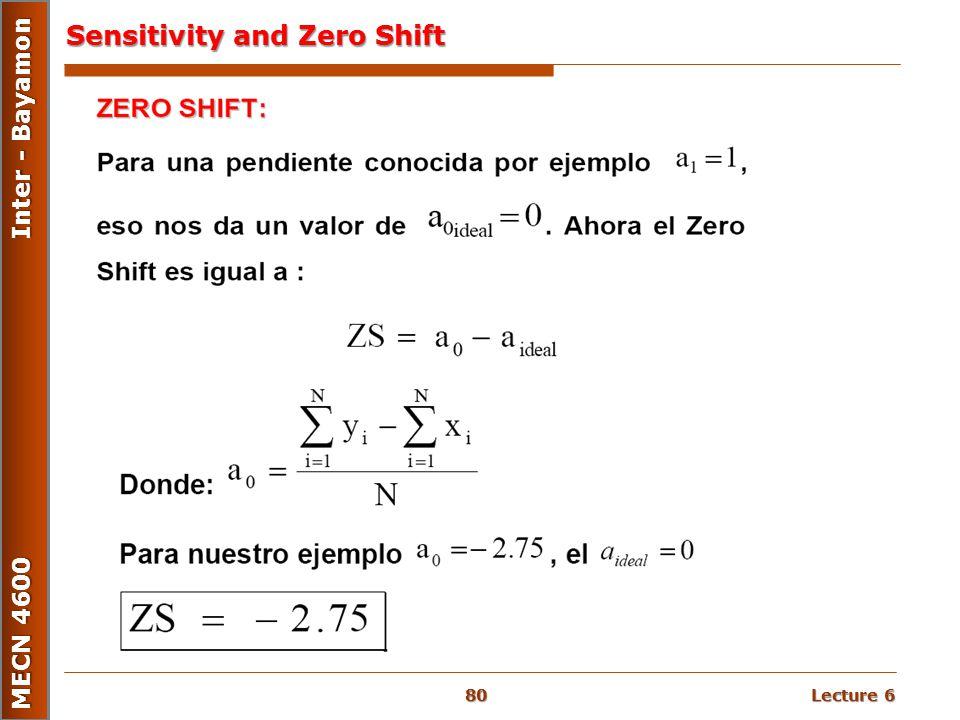 Lecture 6 MECN 4600 Inter - Bayamon Sensitivity and Zero Shift 80