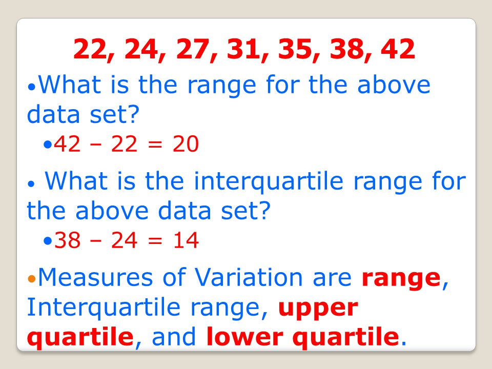 Measures of Variability: Is how spread out group of data is. Measures of Variability are range and interquartile range. Inter-quartile range (IQR): Th
