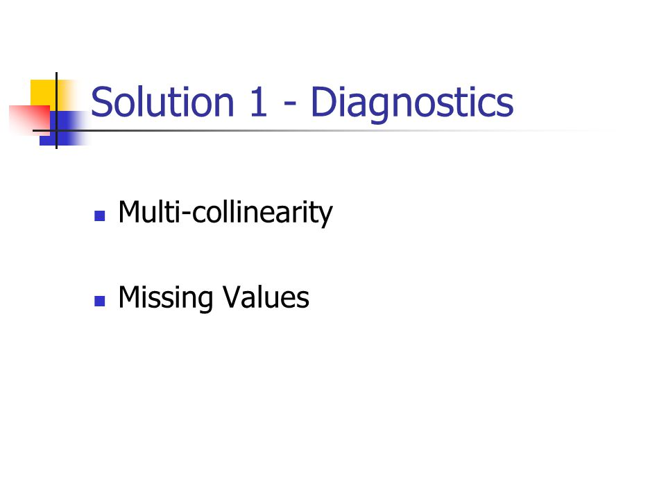 Solution 1 - Diagnostics Multi-collinearity Missing Values