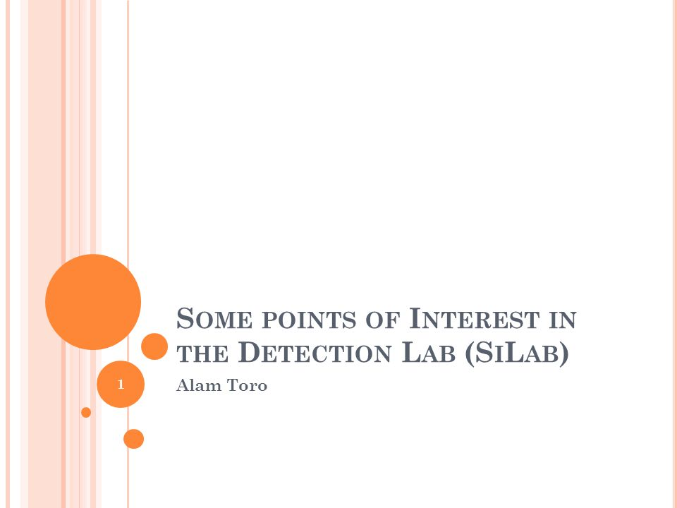 S OME POINTS OF I NTEREST IN THE D ETECTION L AB (S I L AB ) Alam Toro 1