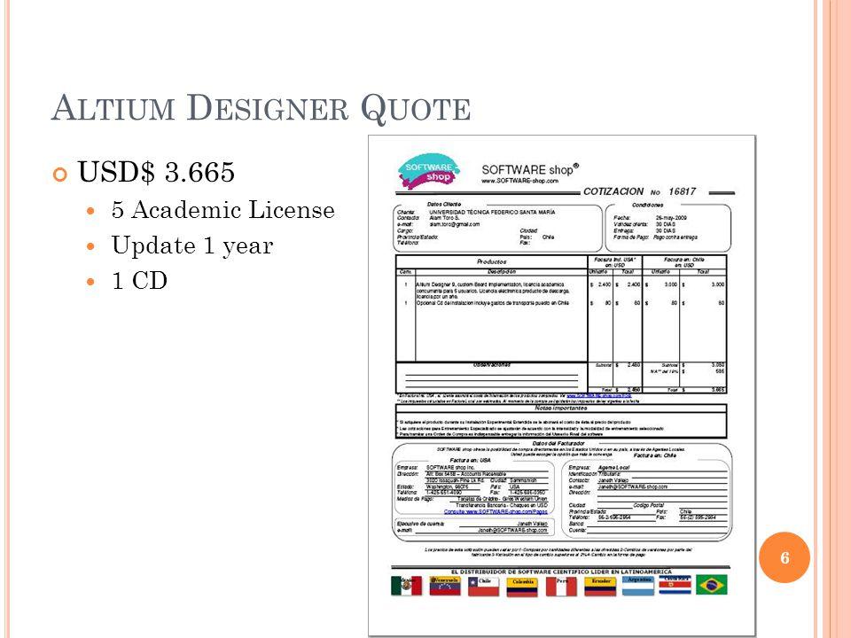A LTIUM D ESIGNER Q UOTE USD$ 3.665 5 Academic License Update 1 year 1 CD 6
