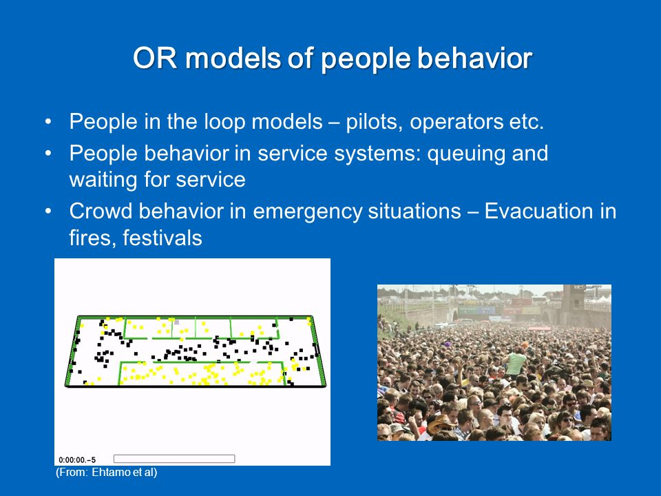 OR models of people behavior People in the loop models – pilots, operators etc.