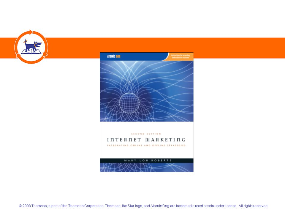Internet Marketing: Integrating Online and Offline StrategiesCopyright 2008 Atomic Dog/Thomson Publishing 22 PUBLICITY Offline Techniques Including  Press Releases  Placement of Content/Features The Web Has Added  Press Releases Optimized for Search  Reputation Management