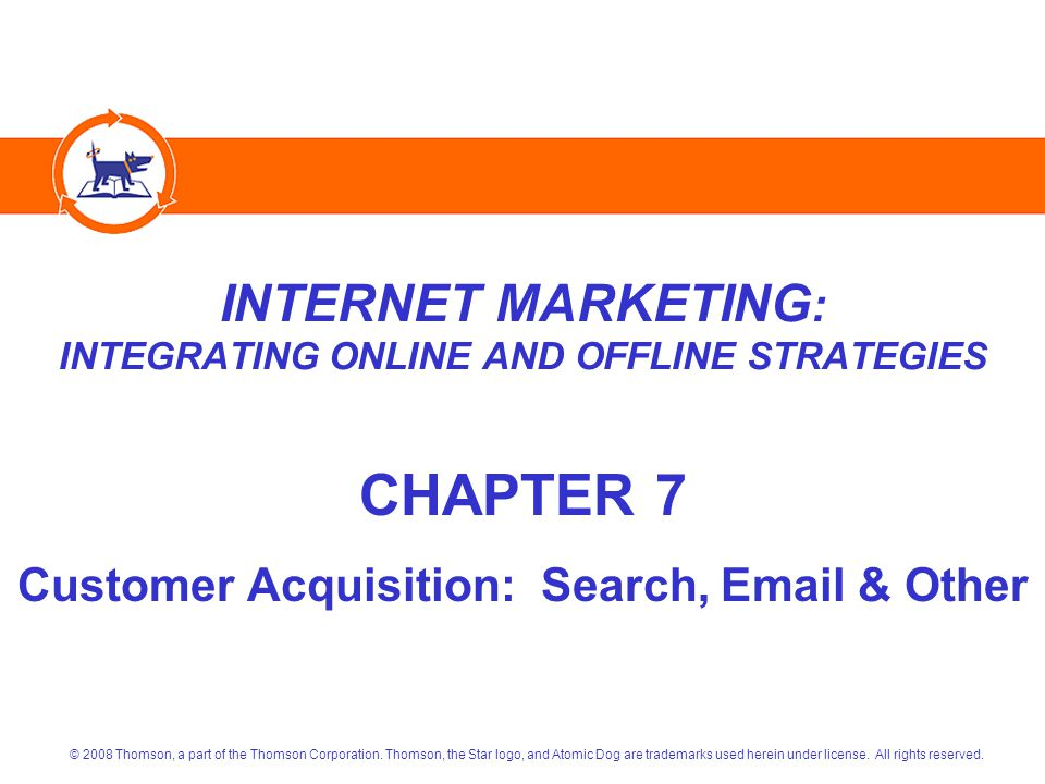 Internet Marketing: Integrating Online and Offline StrategiesCopyright 2008 Atomic Dog/Thomson Publishing 13 ORGANIC RANK NEGATIVES Flash Entry Pages  Search Engine Spiders Can't Read Them Frames (separate scrollable windows on a page) No Site Map  Spiders Use them to Navigate the Site Irrelevant/Poor Quality  Keywords  Links Attempts to Trick Search Engines  Hiding Keywords with White-on-White Text  Create Irrelevant Pages Just for the Spiders  And Others That Can Result in Exclusion