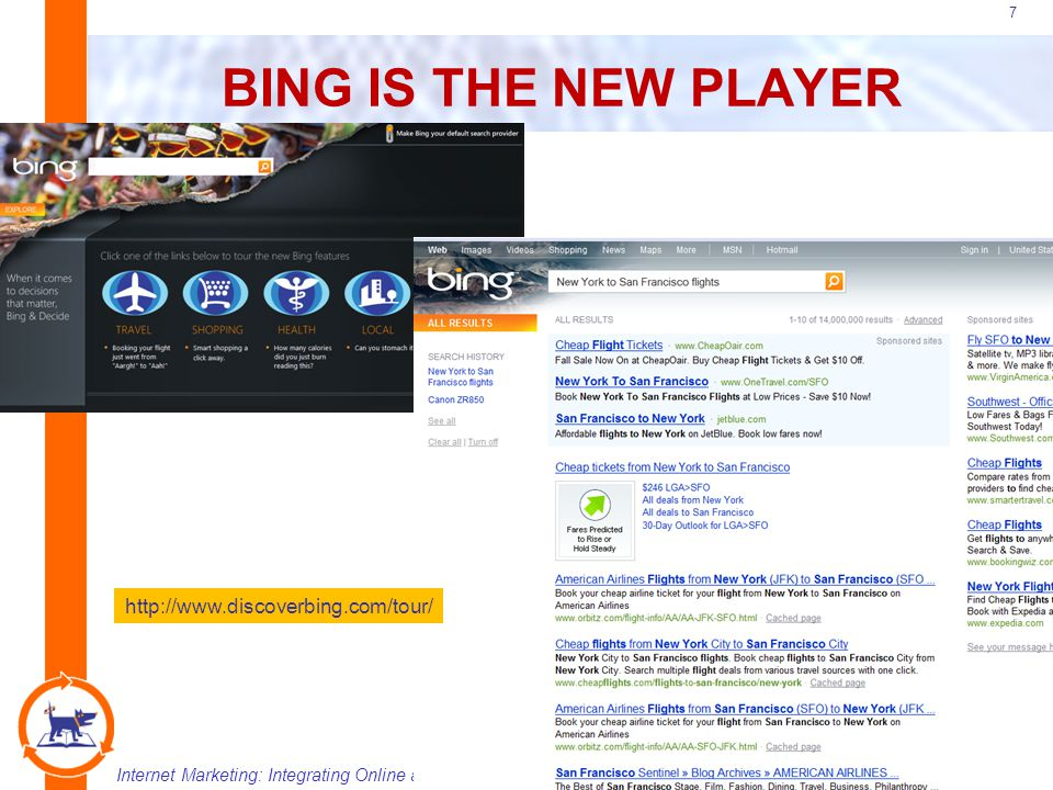 Internet Marketing: Integrating Online and Offline StrategiesCopyright 2008 Atomic Dog/Thomson Publishing 18 OTHER TYPES OF SEARCH Desktop Local Vertical Personalized Blog, Video and Growing!