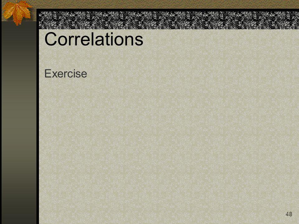 48 Correlations Exercise