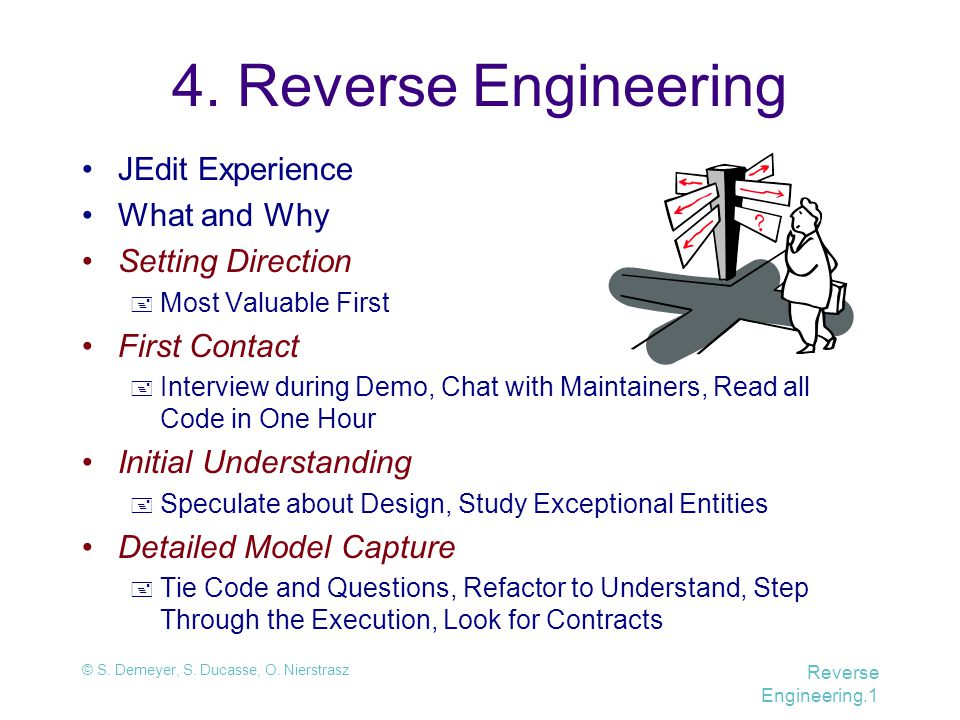 © S. Demeyer, S. Ducasse, O. Nierstrasz Reverse Engineering.1 4. Reverse Engineering JEdit Experience What and Why Setting Direction  Most Valuable F