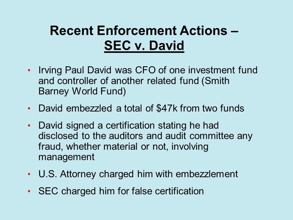 Recent Enforcement Actions – SEC v.