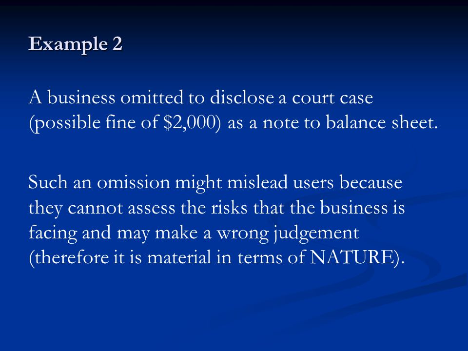 Example 2 A business omitted to disclose a court case (possible fine of $2,000) as a note to balance sheet.