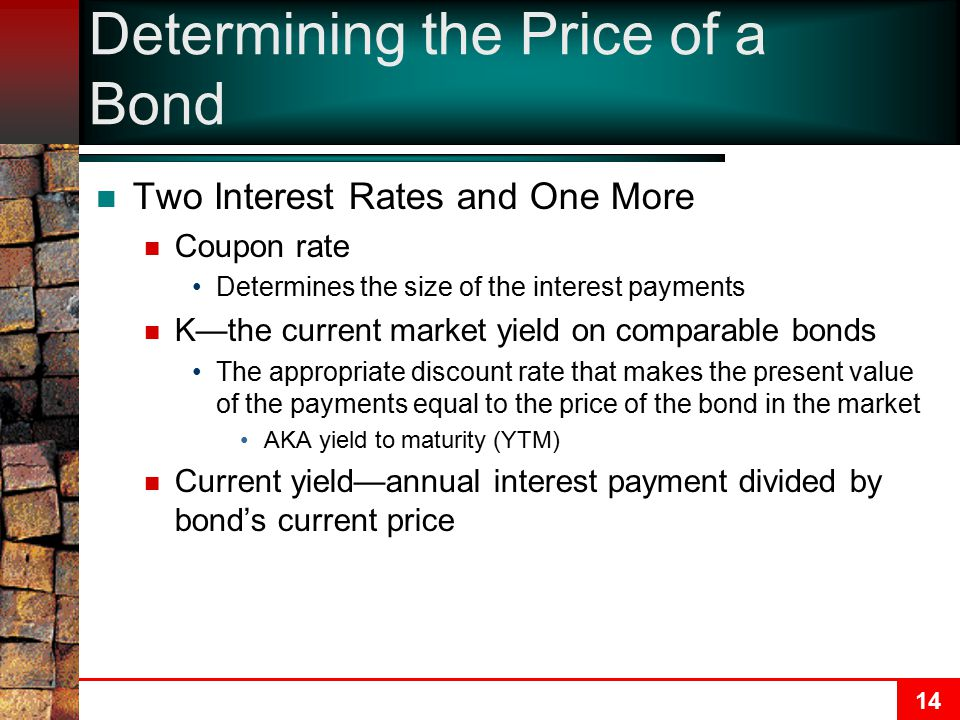 14 Determining the Price of a Bond Two Interest Rates and One More Coupon rate Determines the size of the interest payments K—the current market yield on comparable bonds The appropriate discount rate that makes the present value of the payments equal to the price of the bond in the market AKA yield to maturity (YTM) Current yield—annual interest payment divided by bond's current price