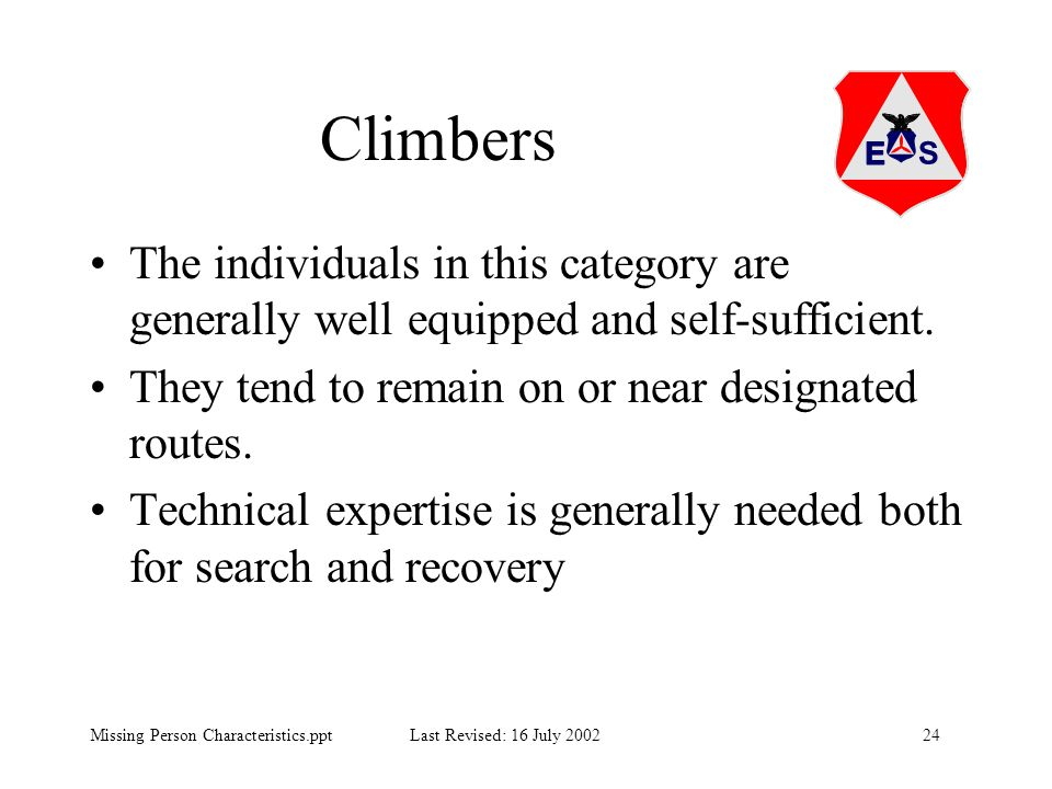24Missing Person Characteristics.ppt Last Revised: 16 July 2002 Climbers The individuals in this category are generally well equipped and self-suffici