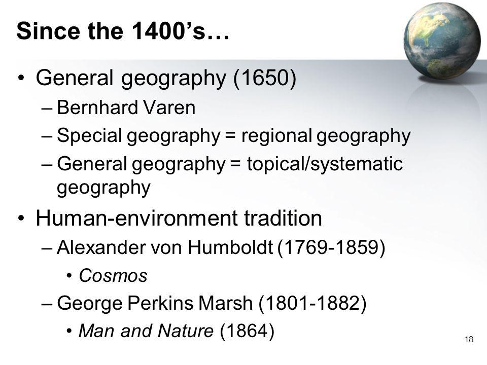 17 History of Geography Classical Western World –Erastosthenes (275-195 B.C.) –Hipparchus (180-127 B.C.) Non-European World –Al-Edrisi (1099-1154) –Ib