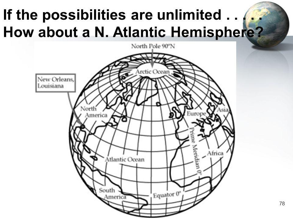 77 A Hemisphere is a Hemisphere, is a Hemisphere…. Land Hemisphere Water Hemisphere The possibilities are infinite
