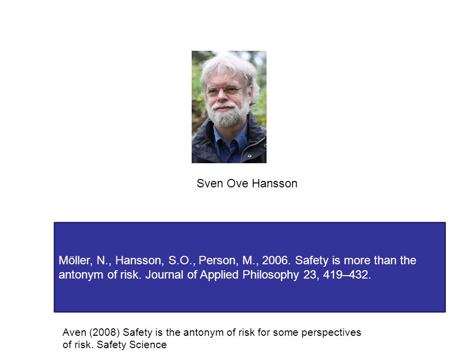 Sven Ove Hansson Möller, N., Hansson, S.O., Person, M., 2006. Safety is more than the antonym of risk. Journal of Applied Philosophy 23, 419–432. Aven