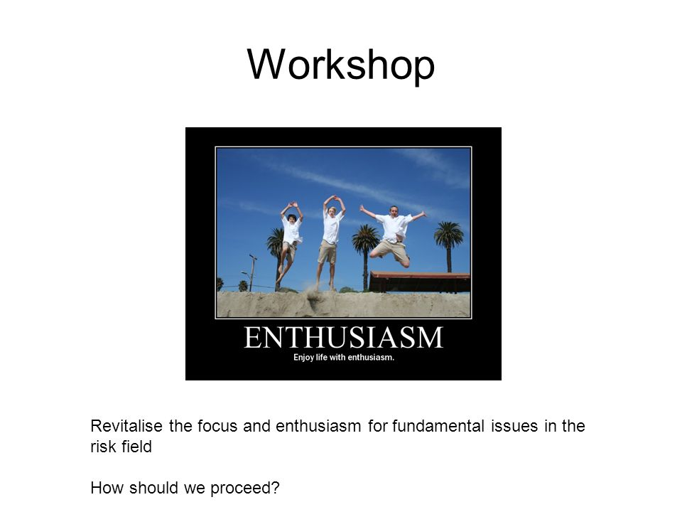 Workshop Revitalise the focus and enthusiasm for fundamental issues in the risk field How should we proceed?