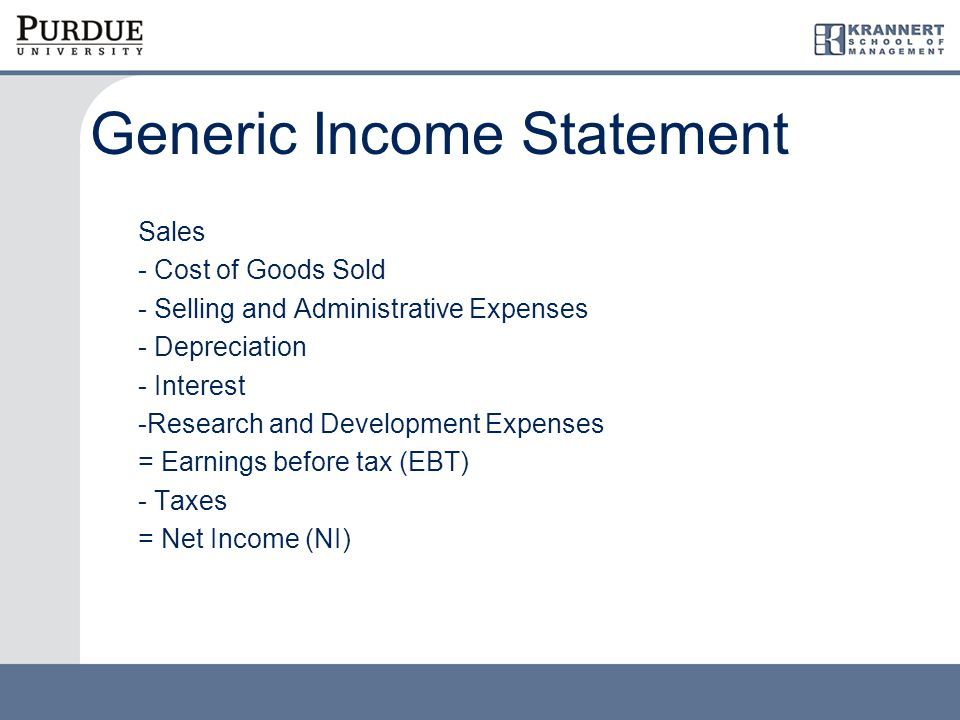 Generic Income Statement Sales - Cost of Goods Sold - Selling and Administrative Expenses - Depreciation - Interest -Research and Development Expenses = Earnings before tax (EBT) - Taxes = Net Income (NI)
