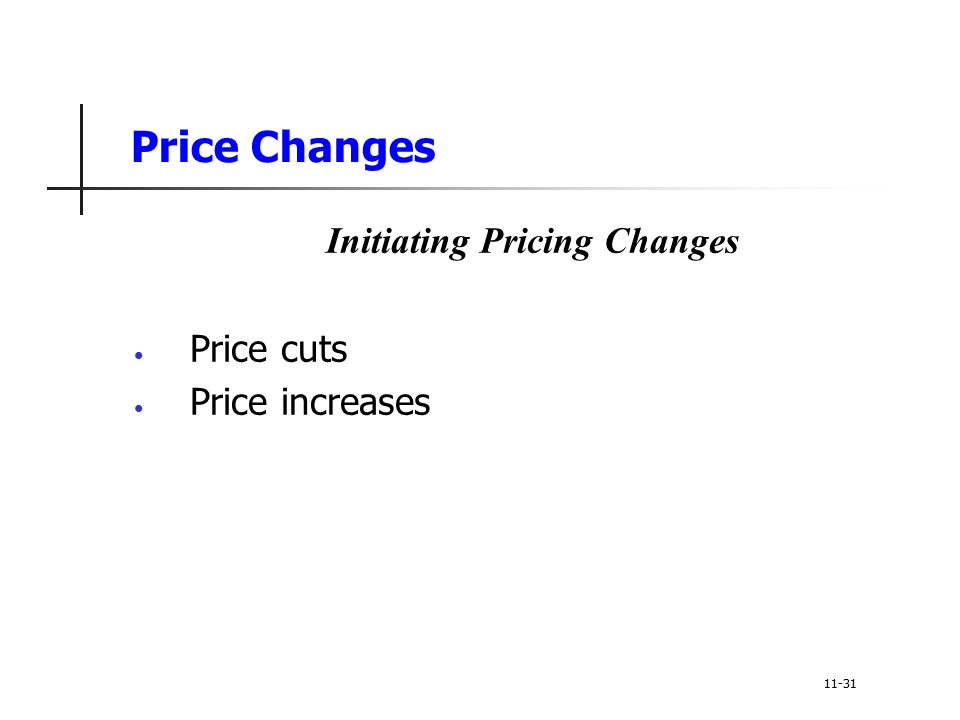 Price Changes Initiating Pricing Changes Price cuts Price increases 11-31