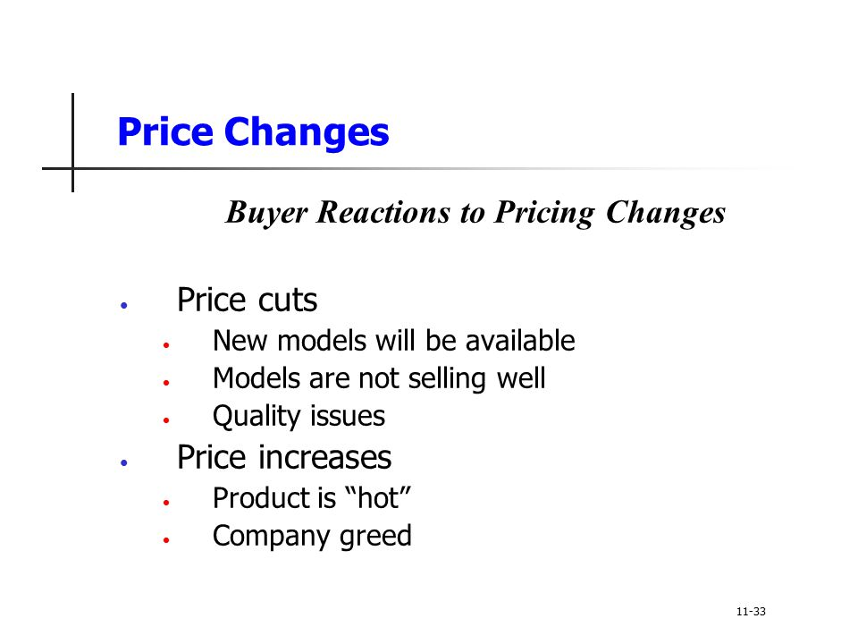 Price Changes Buyer Reactions to Pricing Changes Price cuts New models will be available Models are not selling well Quality issues Price increases Pr