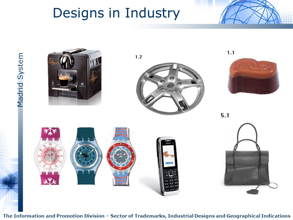 Madrid System The Information and Promotion Division – Sector of Trademarks, Industrial Designs and Geographical Indications Designs in Industry