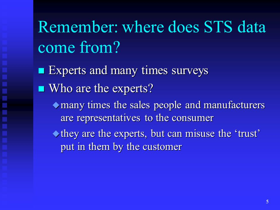 Remember: where does STS data come from.n Experts and many times surveys n Who are the experts.