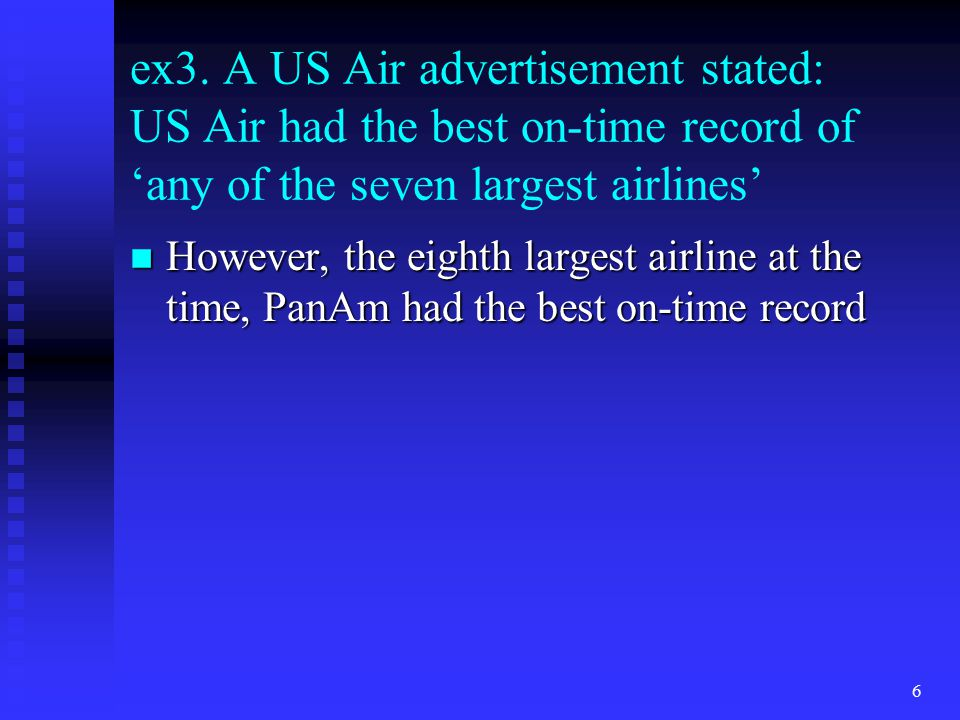 ex3. A US Air advertisement stated: US Air had the best on-time record of 'any of the seven largest airlines' n However, the eighth largest airline at