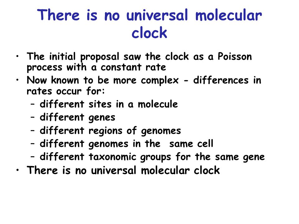 There is no universal molecular clock The initial proposal saw the clock as a Poisson process with a constant rate Now known to be more complex - differences in rates occur for: –different sites in a molecule –different genes –different regions of genomes –different genomes in the same cell –different taxonomic groups for the same gene There is no universal molecular clock