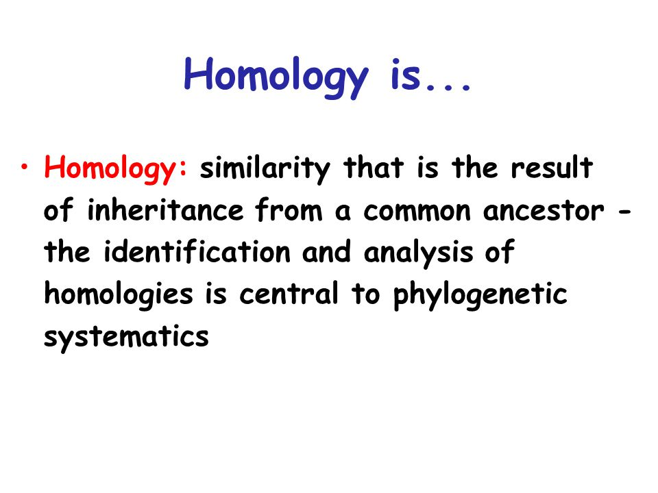 Homology: similarity that is the result of inheritance from a common ancestor - the identification and analysis of homologies is central to phylogenetic systematics Homology is...