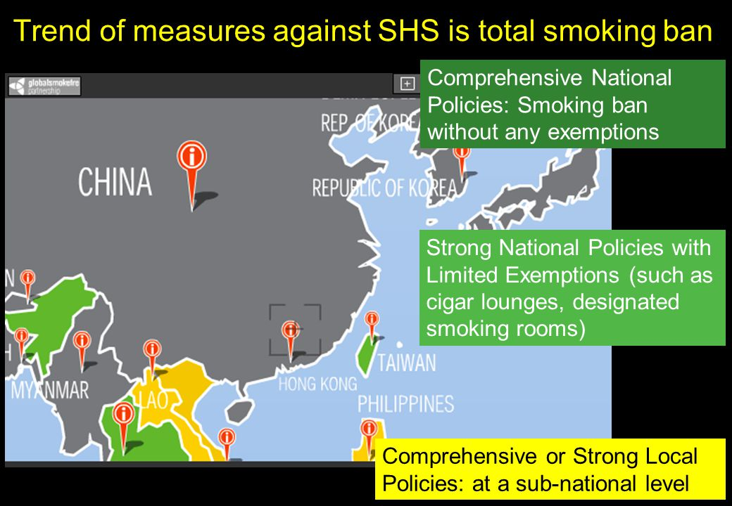 SHS exposure in hospitality venues in 7 Asian countries International Journal of Hygiene and Environmental Health 213 (2010) 348–351, J Lee et al.