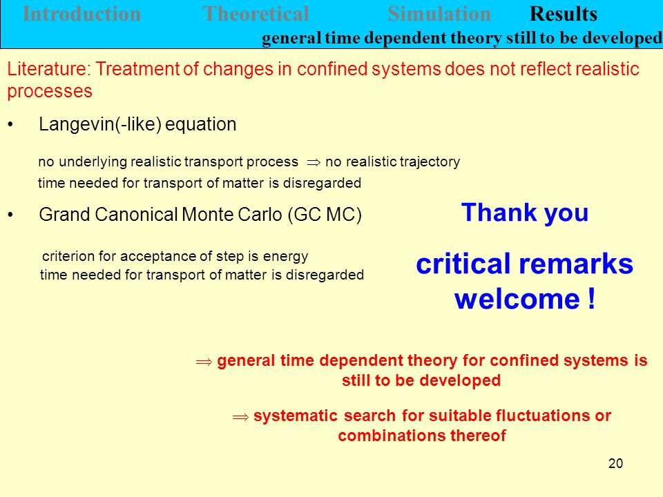 20 Introduction Theoretical Simulation Results general time dependent theory still to be developed Literature: Treatment of changes in confined systems does not reflect realistic processes  general time dependent theory for confined systems is still to be developed Thank you critical remarks welcome .