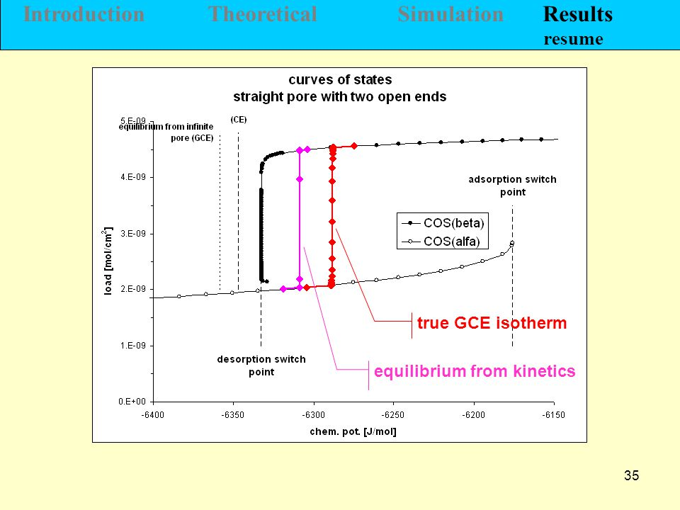 35 Introduction Theoretical Simulation Results resume true GCE isotherm equilibrium from kinetics