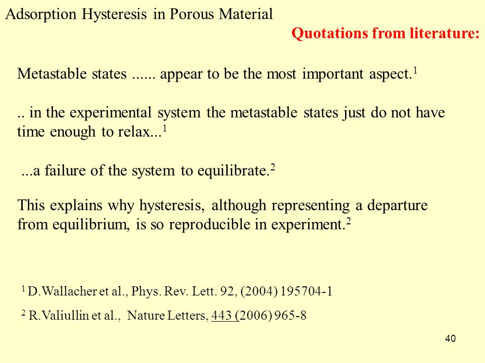 40 Adsorption Hysteresis in Porous Material Quotations from literature: 1 D.Wallacher et al., Phys.